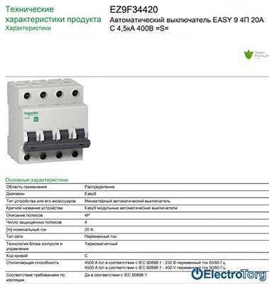 Автоматические выключатели Easy9